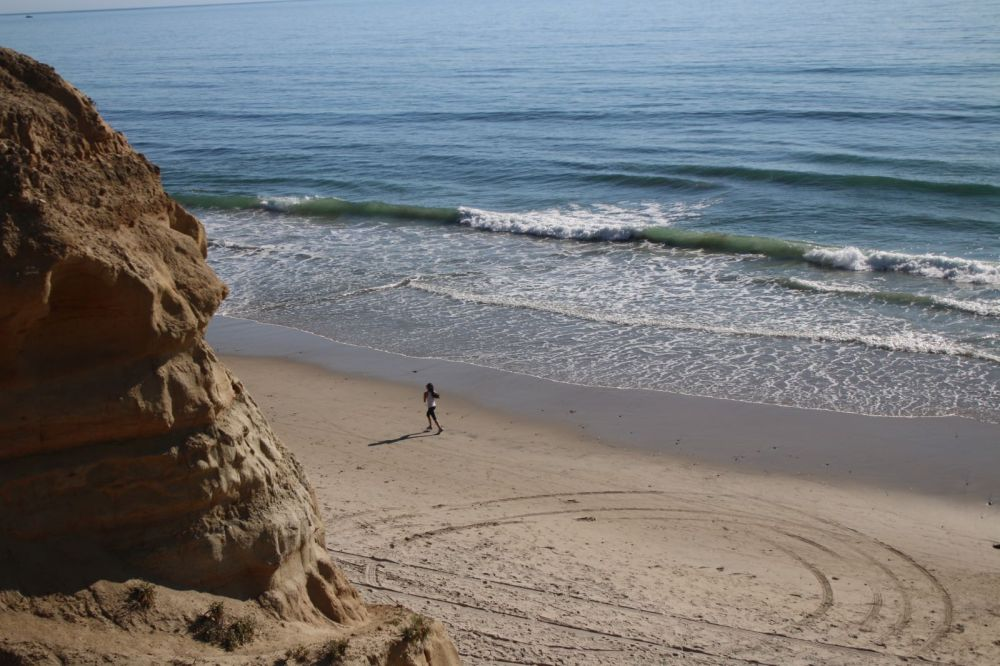 Lone Jogger on Torrey Pines Beach, San Diego