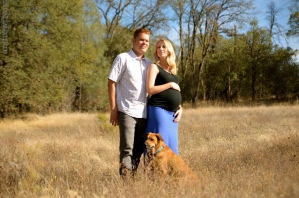 Outdoor maternity couple portrait