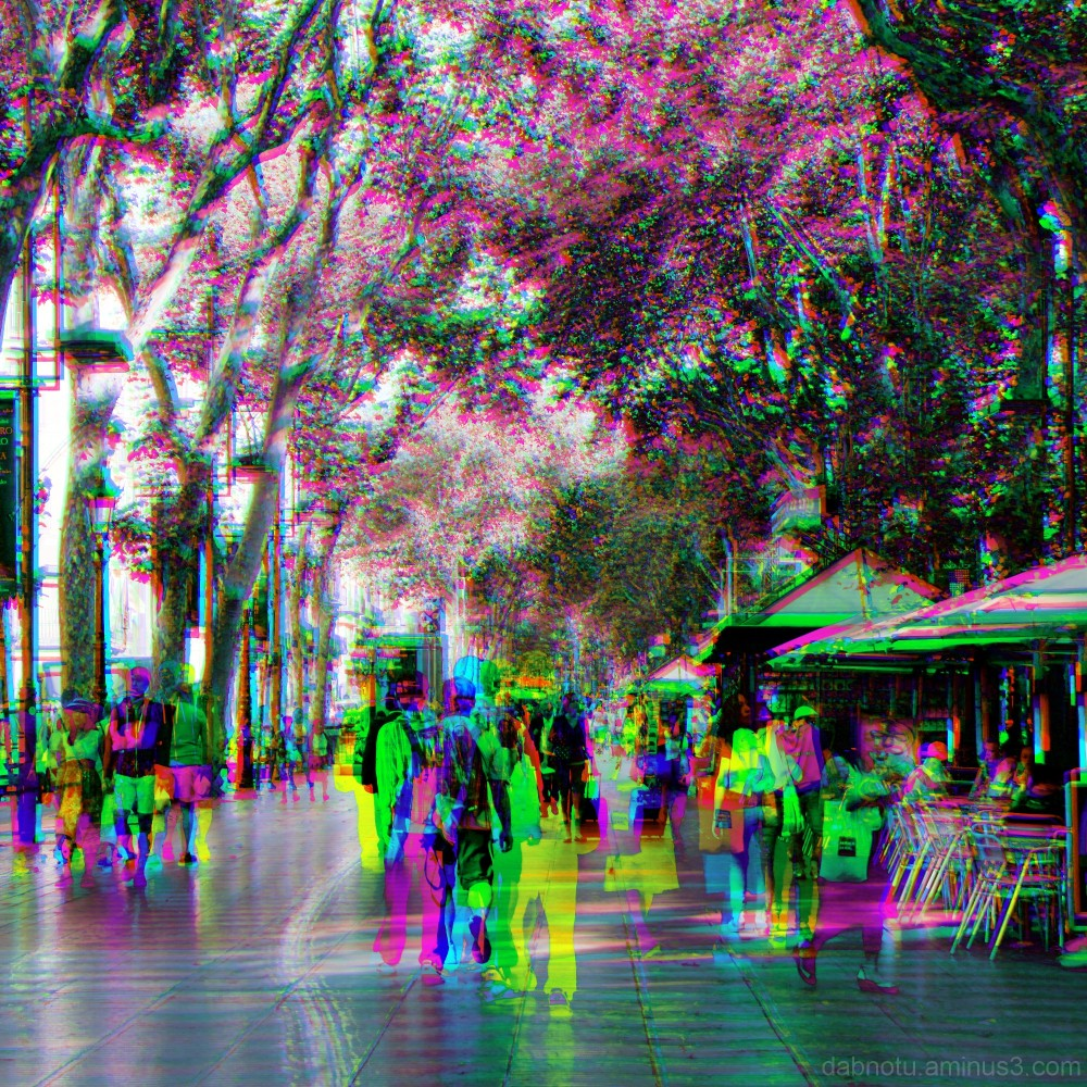 Barcelona street CMY/RGB rendition, via The GIMP!
