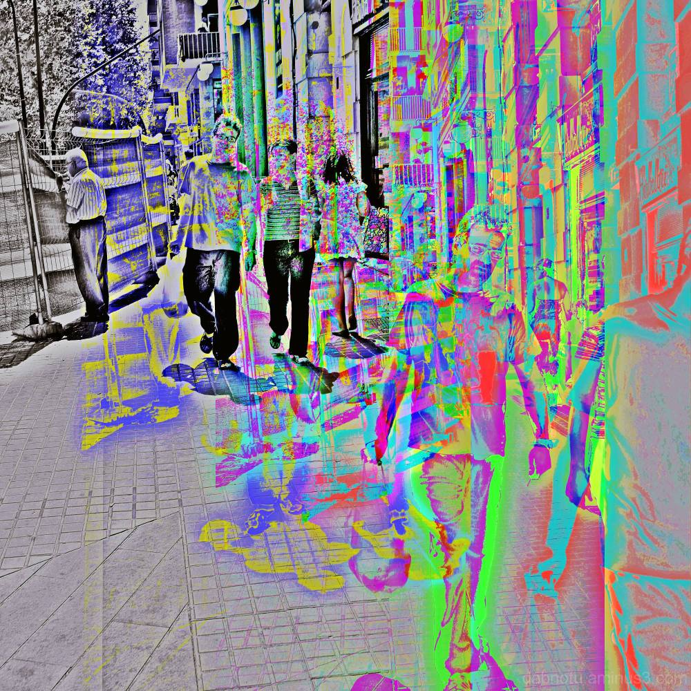 Barelona street CMYK crunch via The GIMP.
