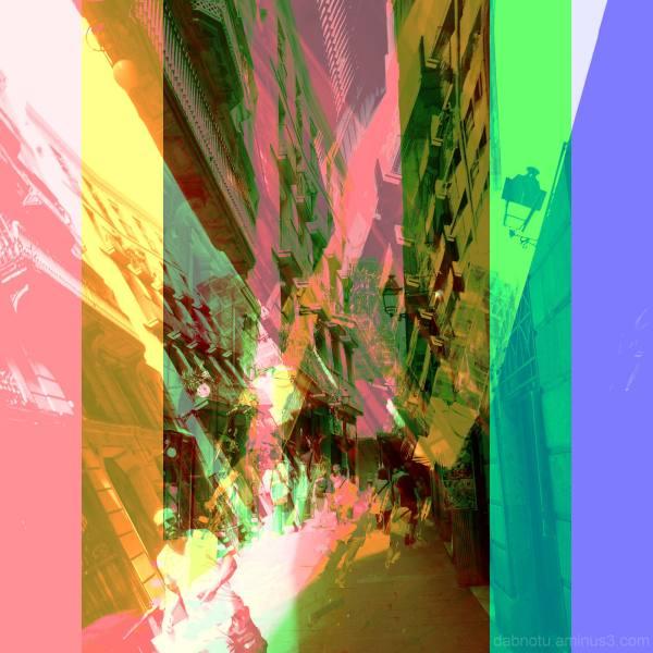 Barcelona street RGB layers via The GIMP!