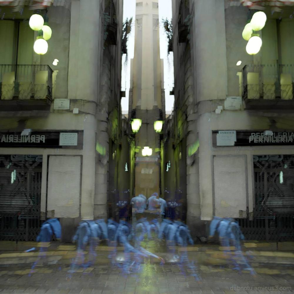 Blurry pedestrian/s, Barcelona city center.