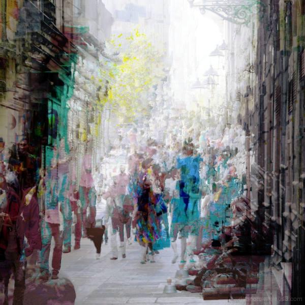 People walking down a street, crowded. Barcelona.