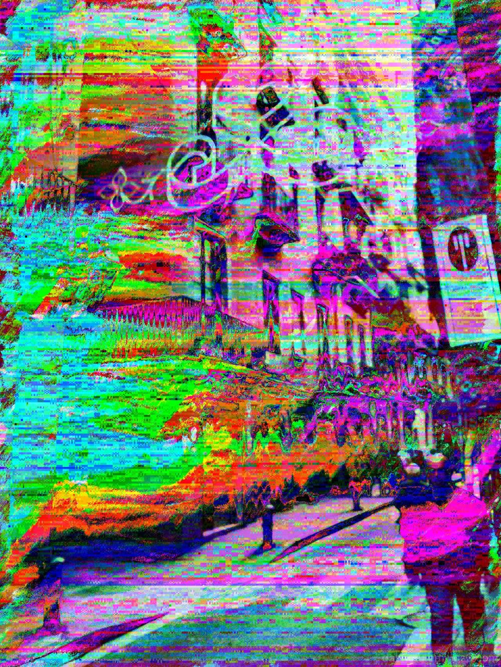 Databent/glitched/pixel sorted street pic!