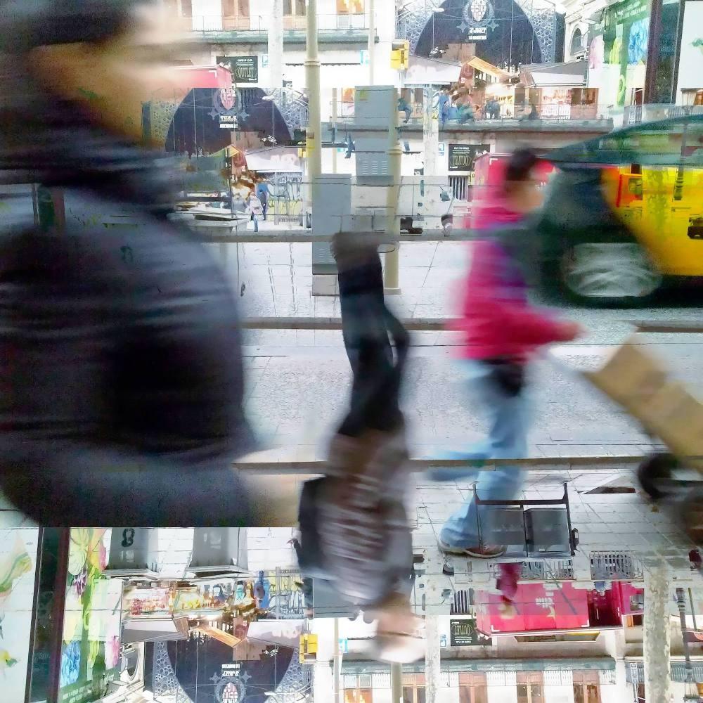 Barcelona/Rambla/street/morning/photomanipulation.