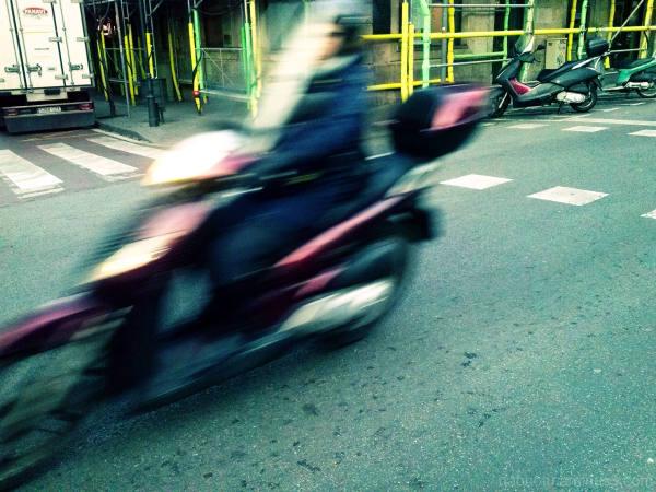 Cross processed Barcelona street smartphone photo.