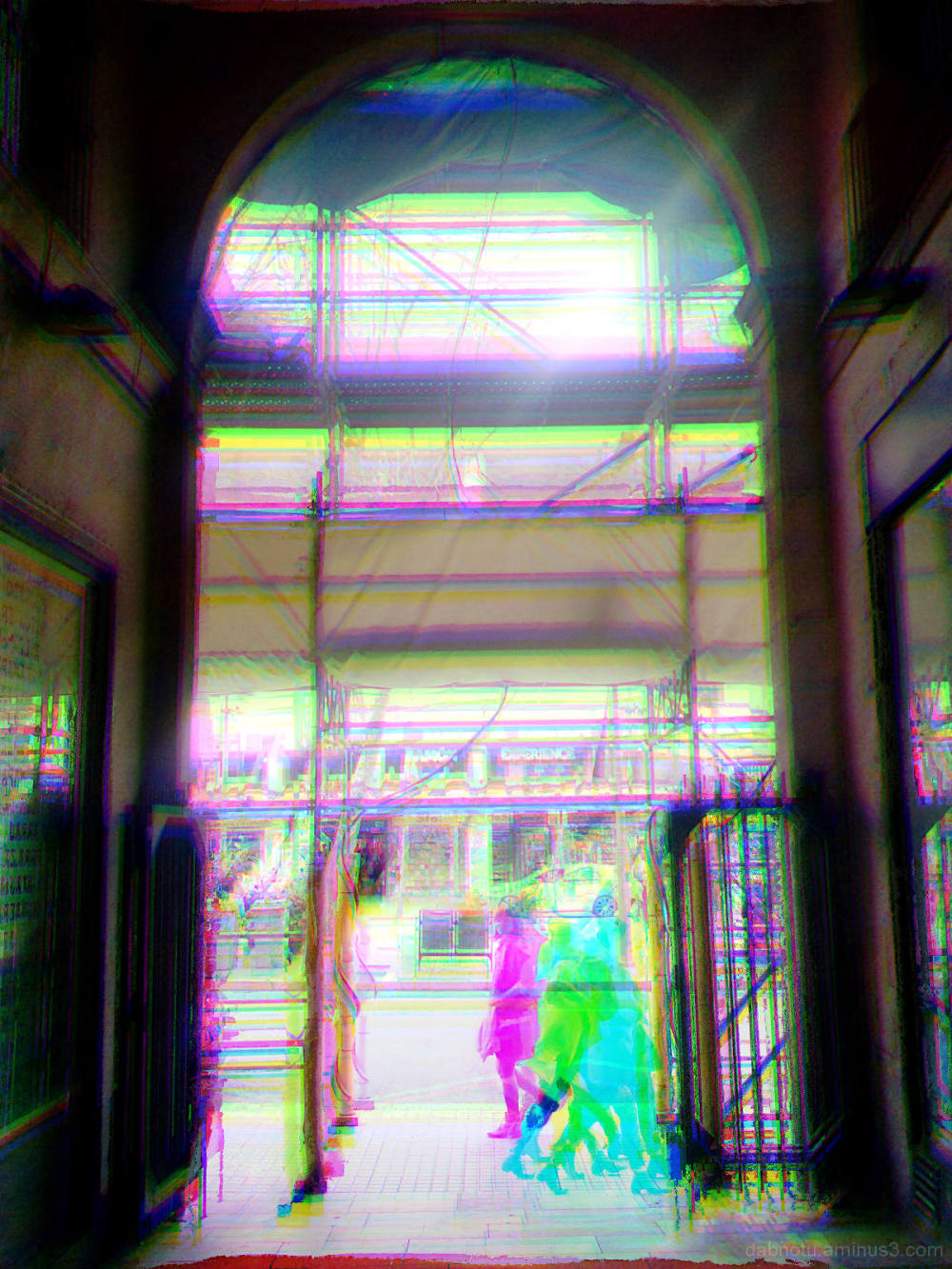 Barcelona street smartphonography GIMP RGB edit.