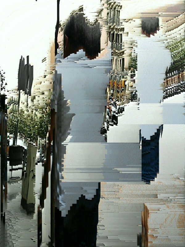 Barcelona pixel sort slit scan street photography.