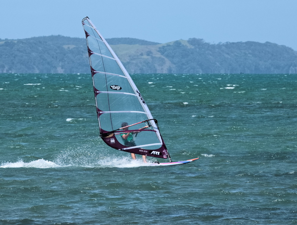 Wind surfer Kawau Bay