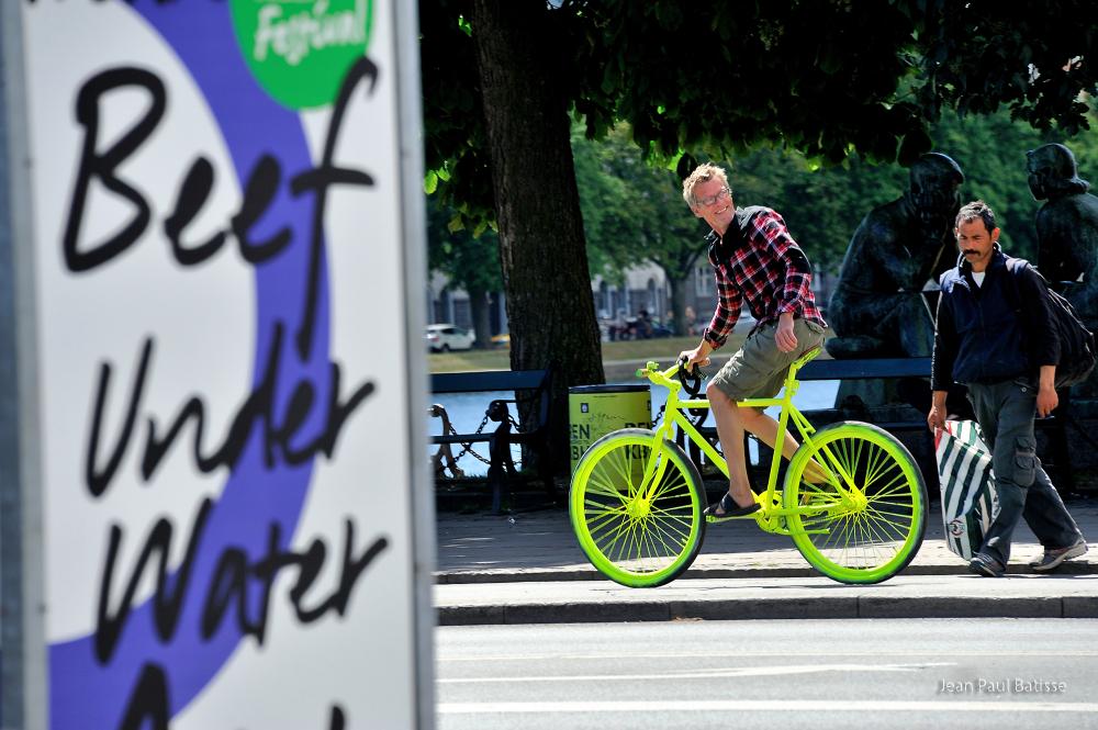 Fluorescent bike or beef under water