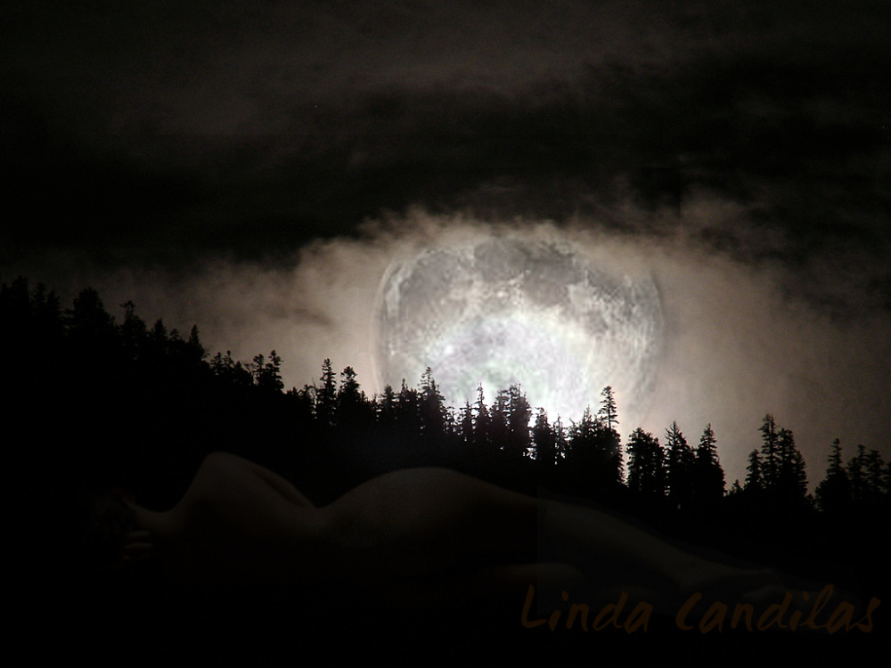 Moon over Tahoe with Nacket Lady