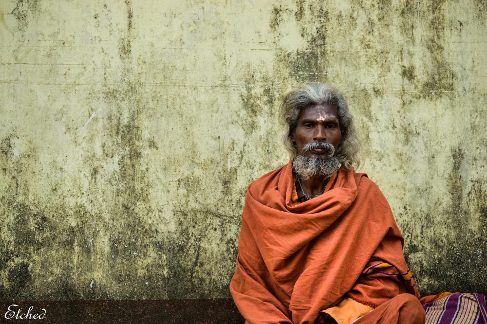 A sense of calmness in his face..