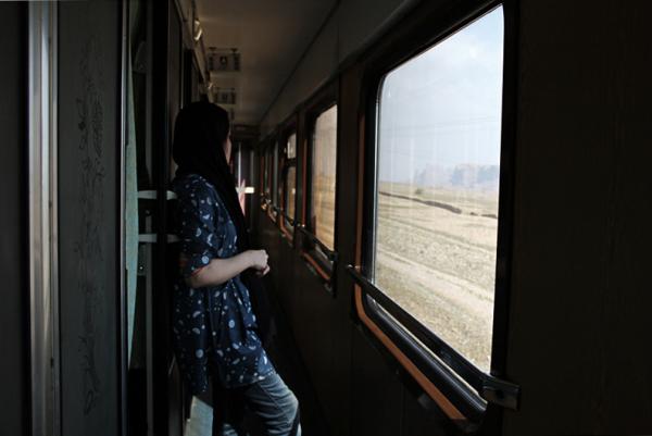 In the train ...