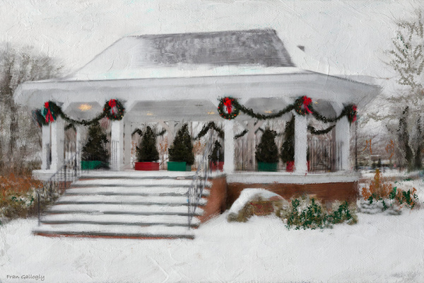Digital Painting of a Gazebo in the Snow