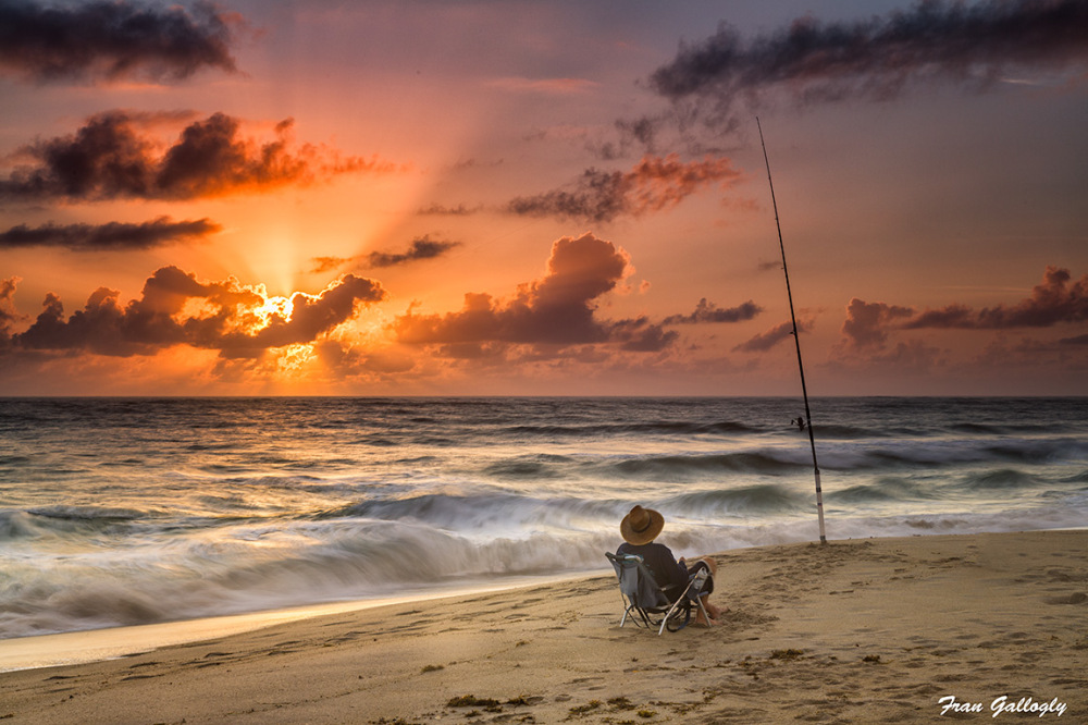 fishing at sunrise