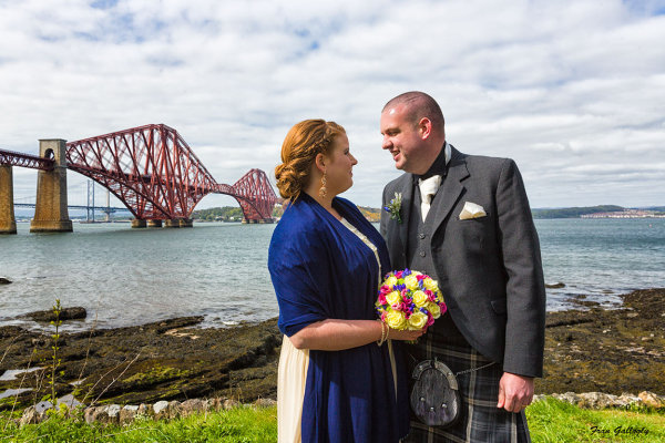 Bridal Couple by the Forth Bridge