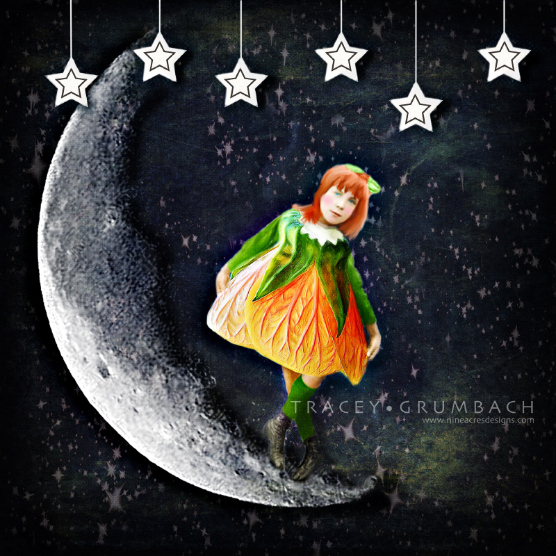girl dancing on the moon