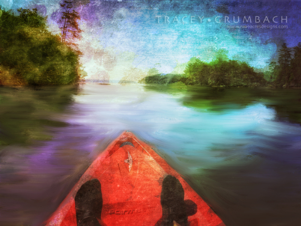 digital art showing a kayak in a river
