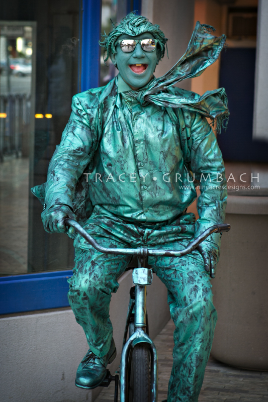 live mime on bike in Las Vegas, Nevada