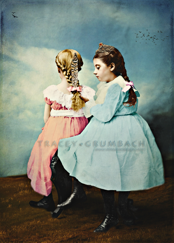 digital art showing two girls braiding hair