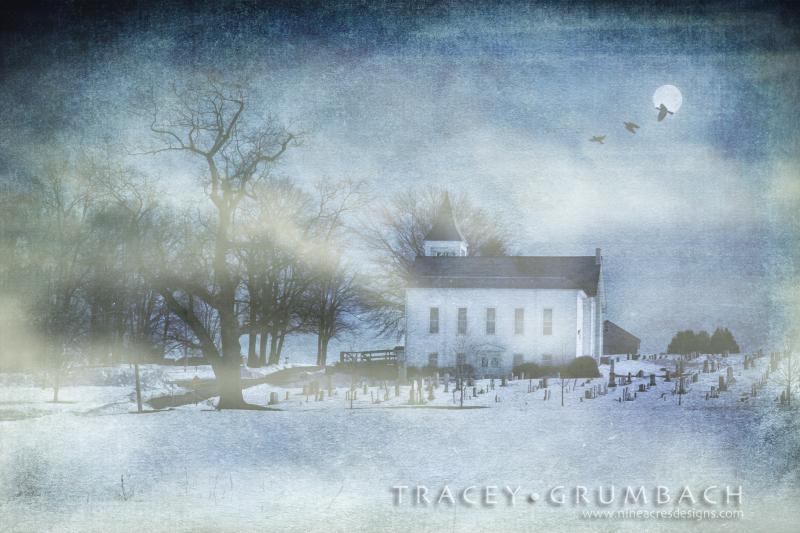church in the foggy snow