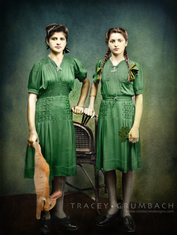 vintage portrait of sisters in green dresses