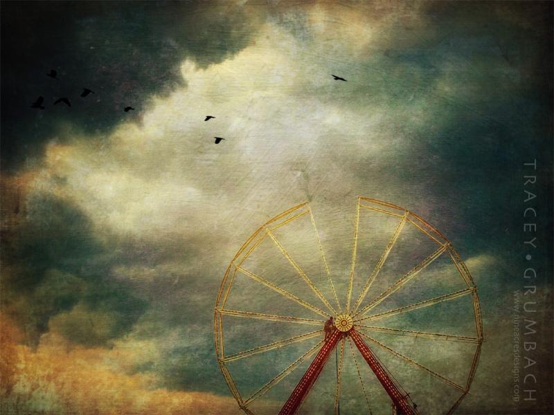 man climbing ferris wheel