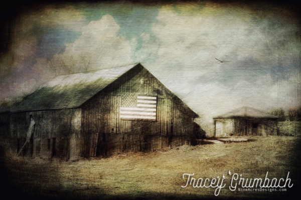 barn with american flag on the side