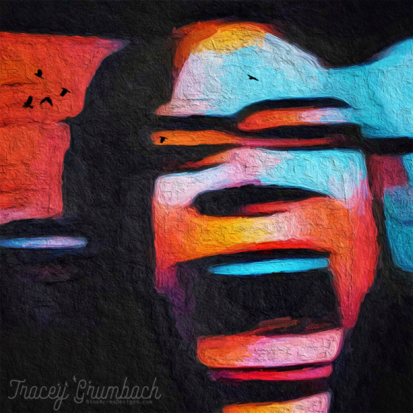 abstract self portrait of a screaming face