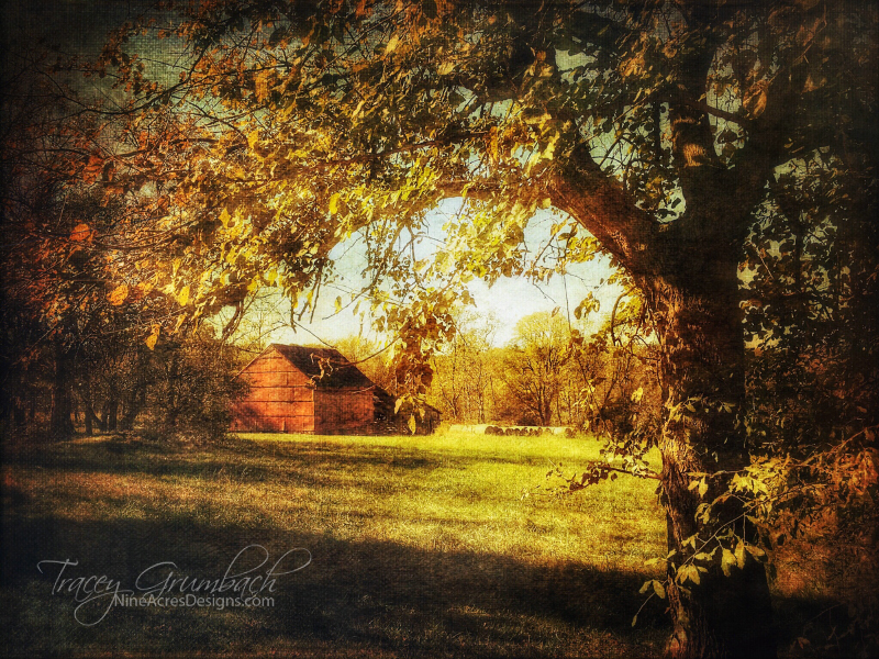 Rural landscape with red barn in autumn