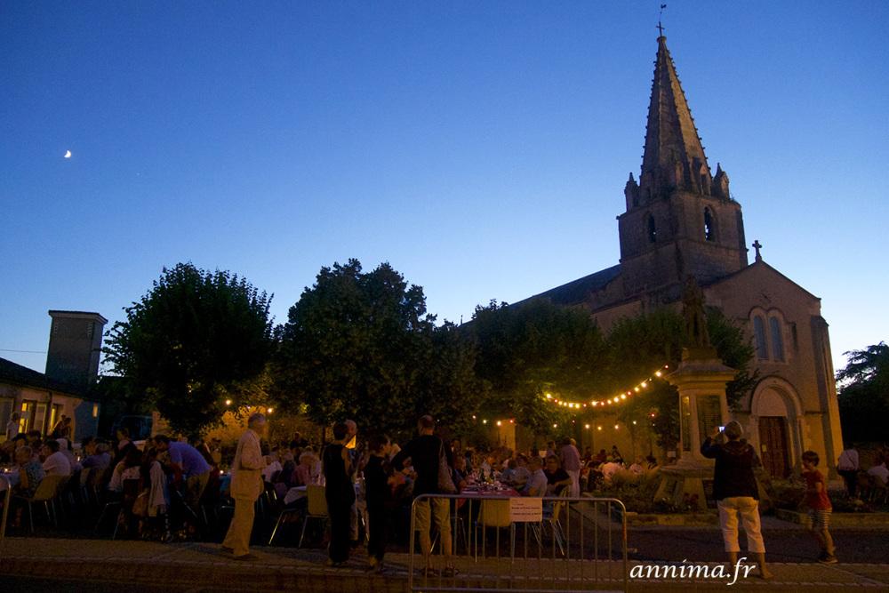 BAstille Day, France, roman church, summer, blue