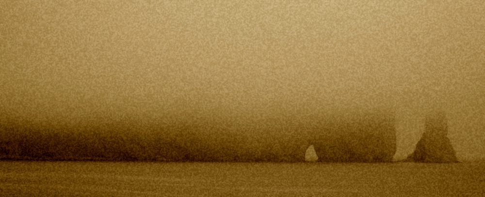 Rocher percé of Gaspesia in fog