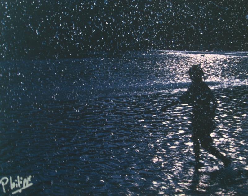 child running in rain