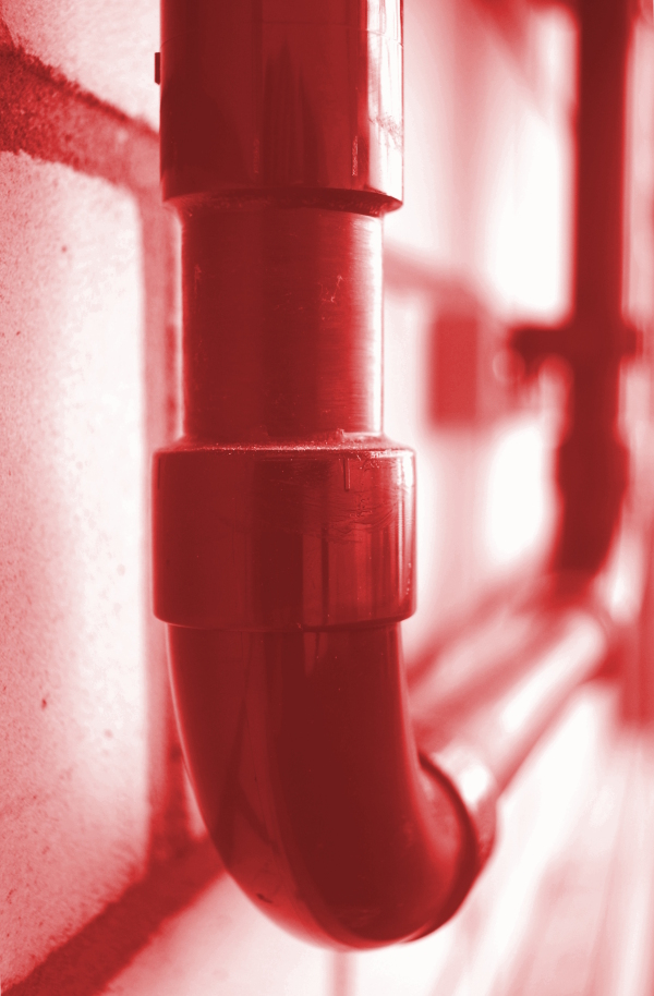 Red pipe up close at the Uni Bielefeld