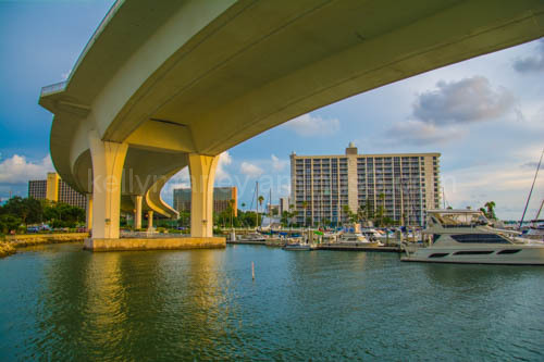 Under the bridge of the Clearwater FL Marina