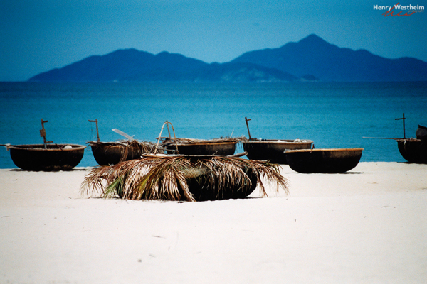 Vietnam, fishing boats on China Beach