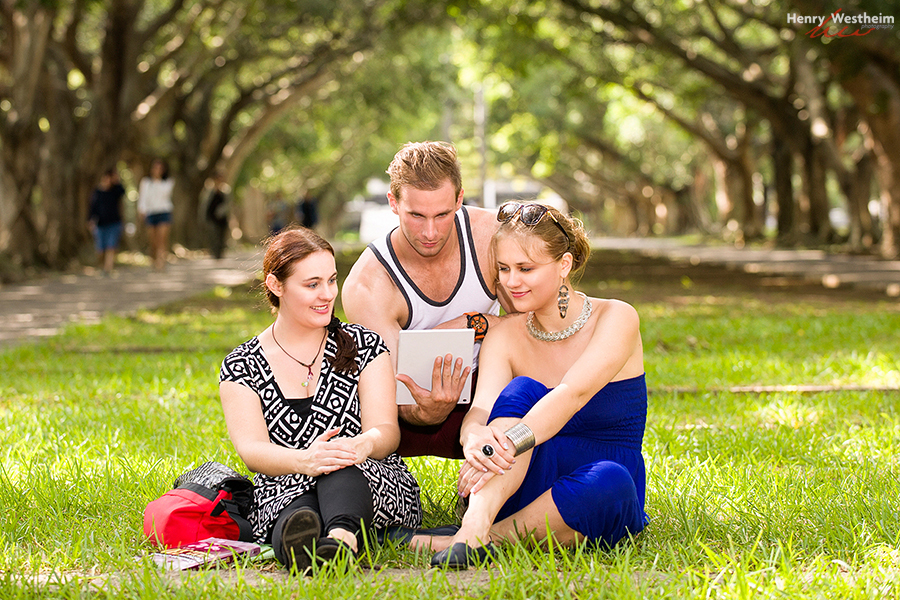 university students studying outdoors outside