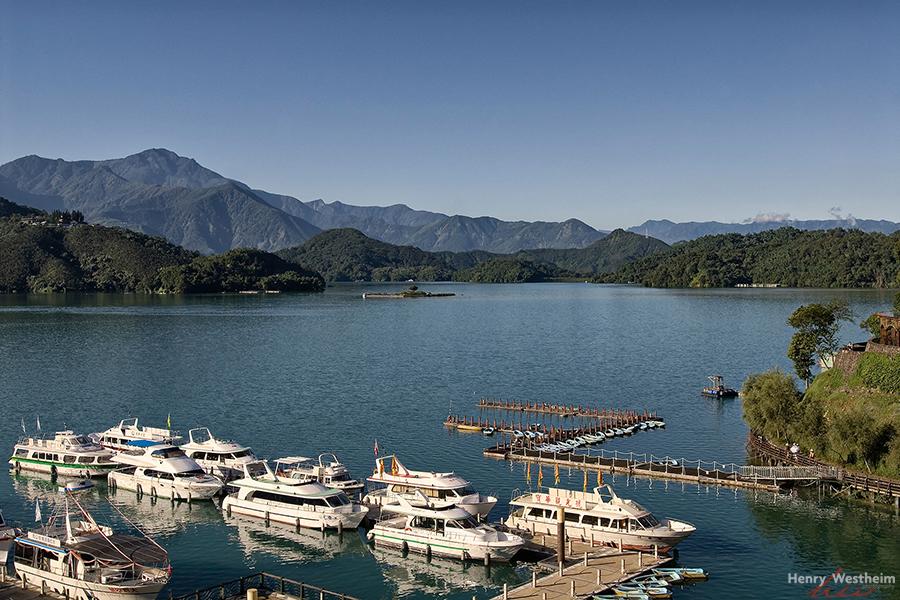 Boats docked on Sun Moon Lake, Taiwan
