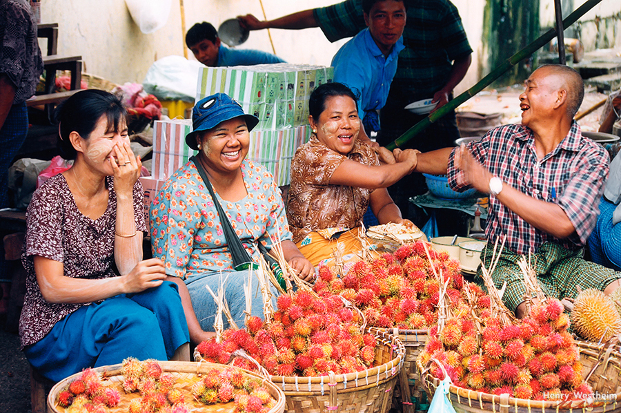 Myanmar Burma people selling rambutan fruit