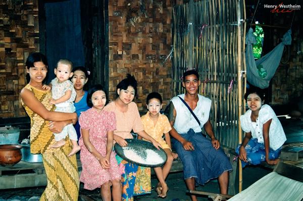 Myanmar Burma, Pyay Prome, Burmese Family portrait