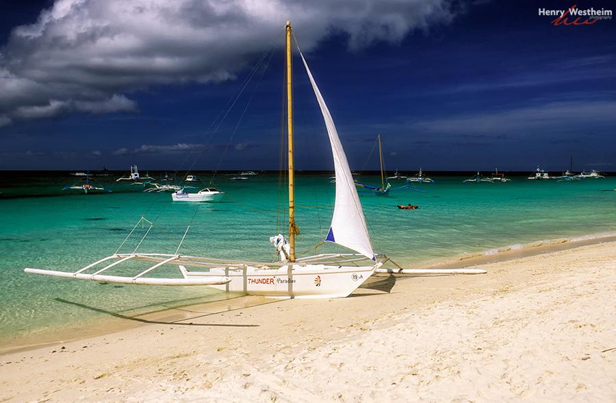 Philippines Boracay Outrigger Sail Boat On Beach