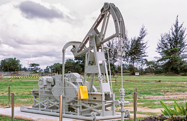 Nodding donkey oil petroleum pump, Brunei, Seria