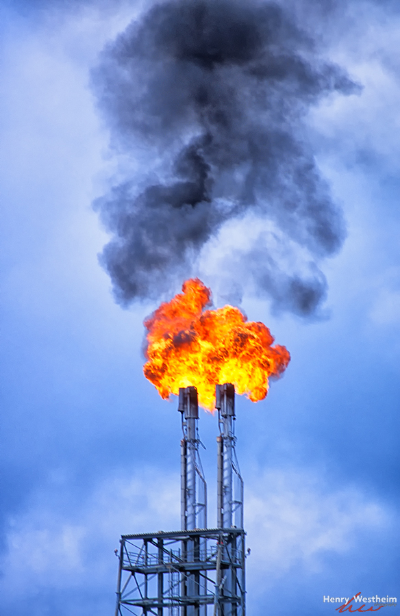 Oil refinery flare stack, Brunei, Seria
