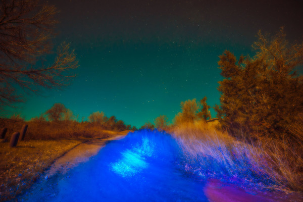 Ambient flashlights on dirt road
