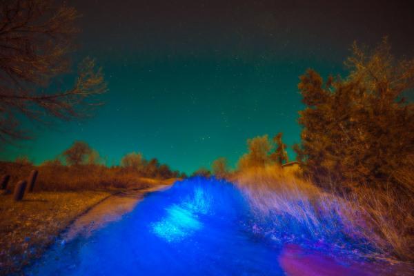 Ambient flashlights on dirt road