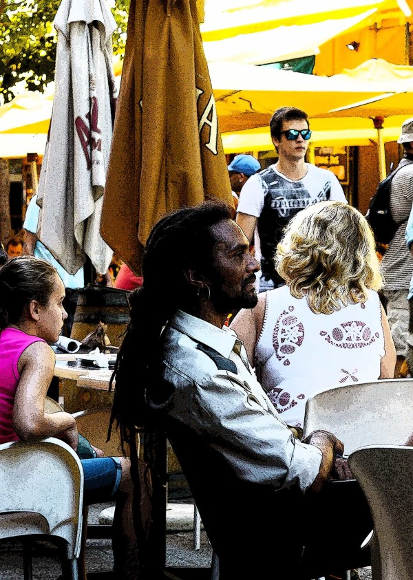 man at coffee shop at greenmarket square