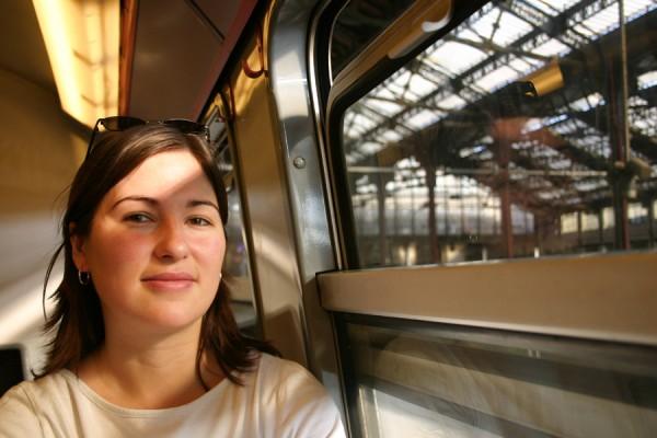 Aurélie on the train