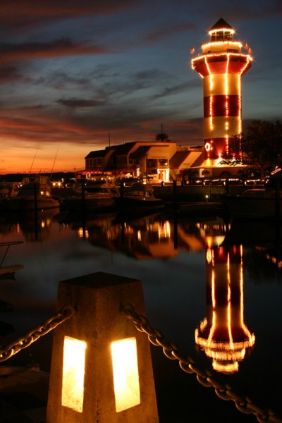 Hilton Head lighthouse at night