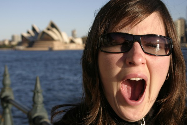 Sleepy yawning by the Opera House