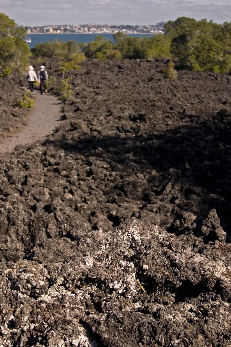 Hiking through the volcanic rocks